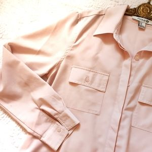 Forever 21 Blush pink long sleeve button top/shirt